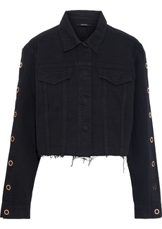 J Brand Woman Cyra Cropped Eyelet-embellished Denim Jacket Dark Denim