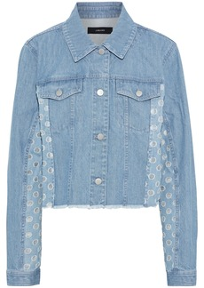 J Brand Woman Cyra Cropped Organza-trimmed Denim Jacket Light Denim