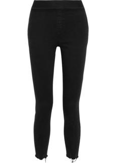 J Brand Woman Dellah Cropped Distressed High-rise Skinny Jeans Black