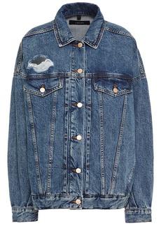J Brand Woman Distressed Denim Jacket Mid Denim