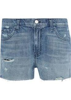 J Brand Woman Distressed Denim Shorts Mid Denim