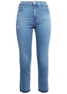 J Brand Woman Cropped Frayed High-rise Slim-leg Jeans Mid Denim