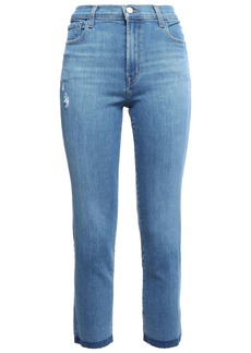 J Brand Woman Distressed High-rise Slim-leg Jeans Mid Denim