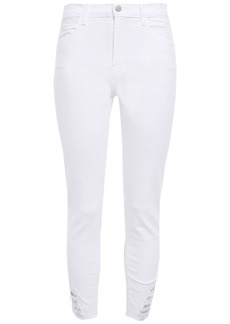 J Brand Woman Distressed Iridescent-trimmed Mid-rise Skinny Jeans White