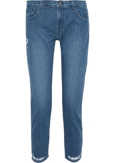 J Brand Woman Distressed Mid-rise Slim-leg Jeans Mid Denim