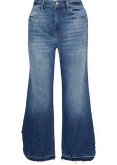 J Brand Woman Distressed Mid-rise Wide-leg Jeans Mid Denim
