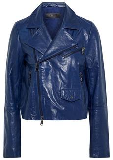 J Brand Woman Divine Washed-leather Biker Jacket Indigo