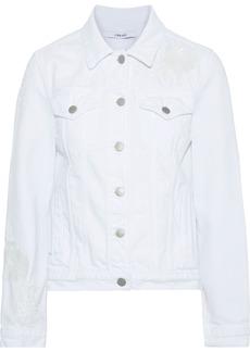 J Brand Woman Embellished Denim Jacket White