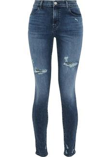 J Brand Woman Faded High-rise Skinny Jeans Mid Denim