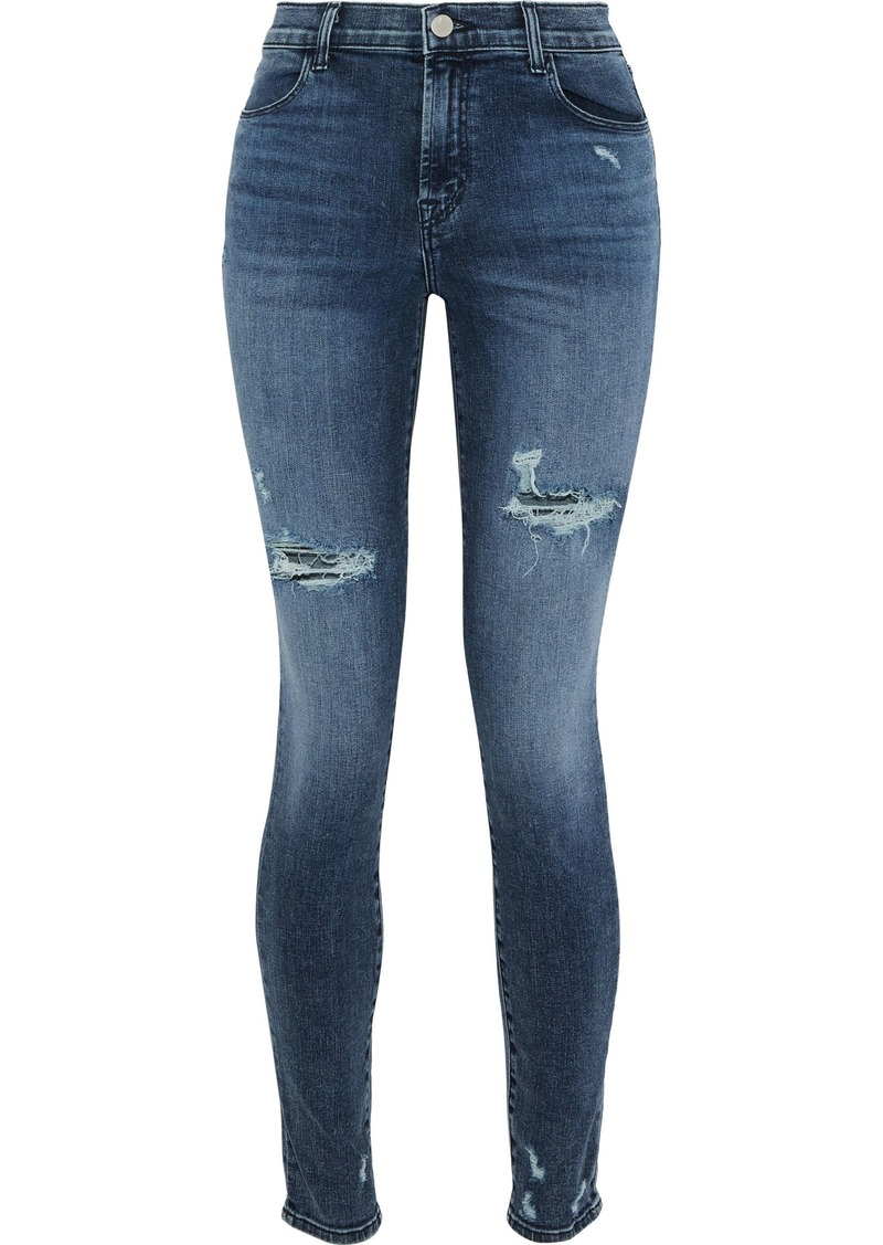 J Brand Woman Faded High-rise Skinny Jeans Mid Denim
