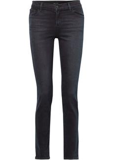 J Brand Woman Faded Mid-rise Slim-leg Jeans Dark Denim
