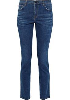 J Brand Woman Maude Mid-rise Slim-leg Jeans Mid Denim