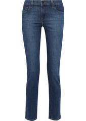 J Brand Woman Faded Mid-rise Slim-leg Jeans Mid Denim