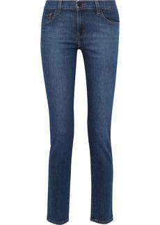 J Brand Woman Maude Faded Mid-rise Slim-leg  Jeans Mid Denim