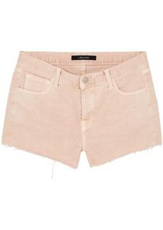 J Brand Woman Frayed Denim Shorts Pastel Pink