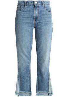 J Brand Woman Frayed High-rise Straight-leg Jeans Light Denim