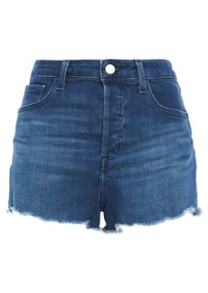 J Brand Woman Gracie Frayed Denim Shorts Mid Denim