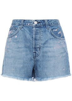 J Brand Woman Gracie Frayed Painted Denim Shorts Light Denim
