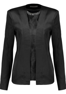 J Brand Woman Greville Calf Hair-paneled Duchesse-satin Jacket Black