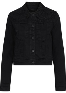 J Brand Woman Harlow Corded Lace-paneled Denim Jacket Black