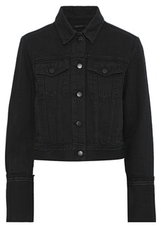 J Brand Woman Harlow Frayed Denim Jacket Charcoal