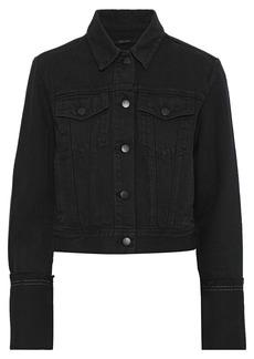 J Brand Woman Harlow Frayed Denim Jacket Charcoal