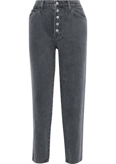 J Brand Woman Heather Cropped High-rise Tapered Jeans Charcoal