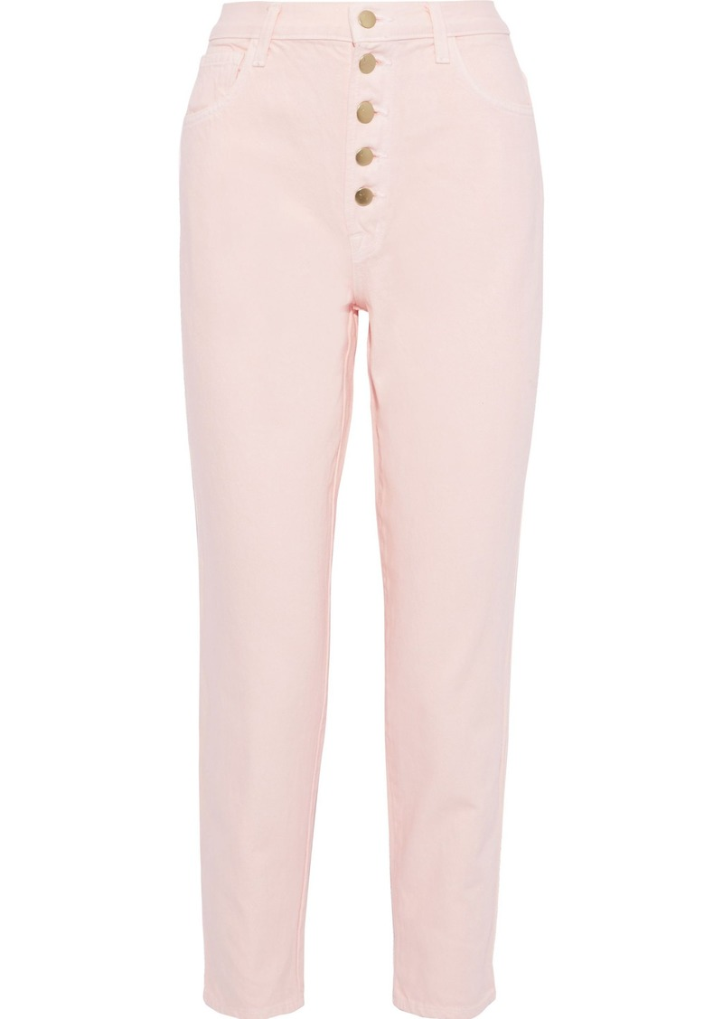 J Brand Woman Heather Cropped High-rise Tapered Jeans Pastel Pink