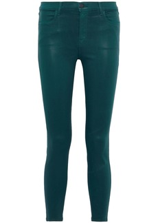 J Brand Woman Cropped Coated High-rise Skinny Jeans Emerald