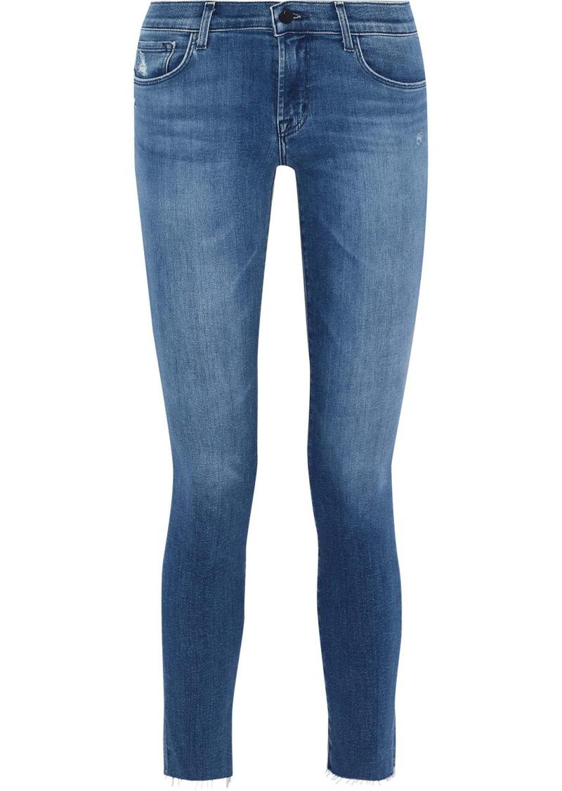J Brand Woman Icon Distressed Mid-rise Skinny Jeans Mid Denim