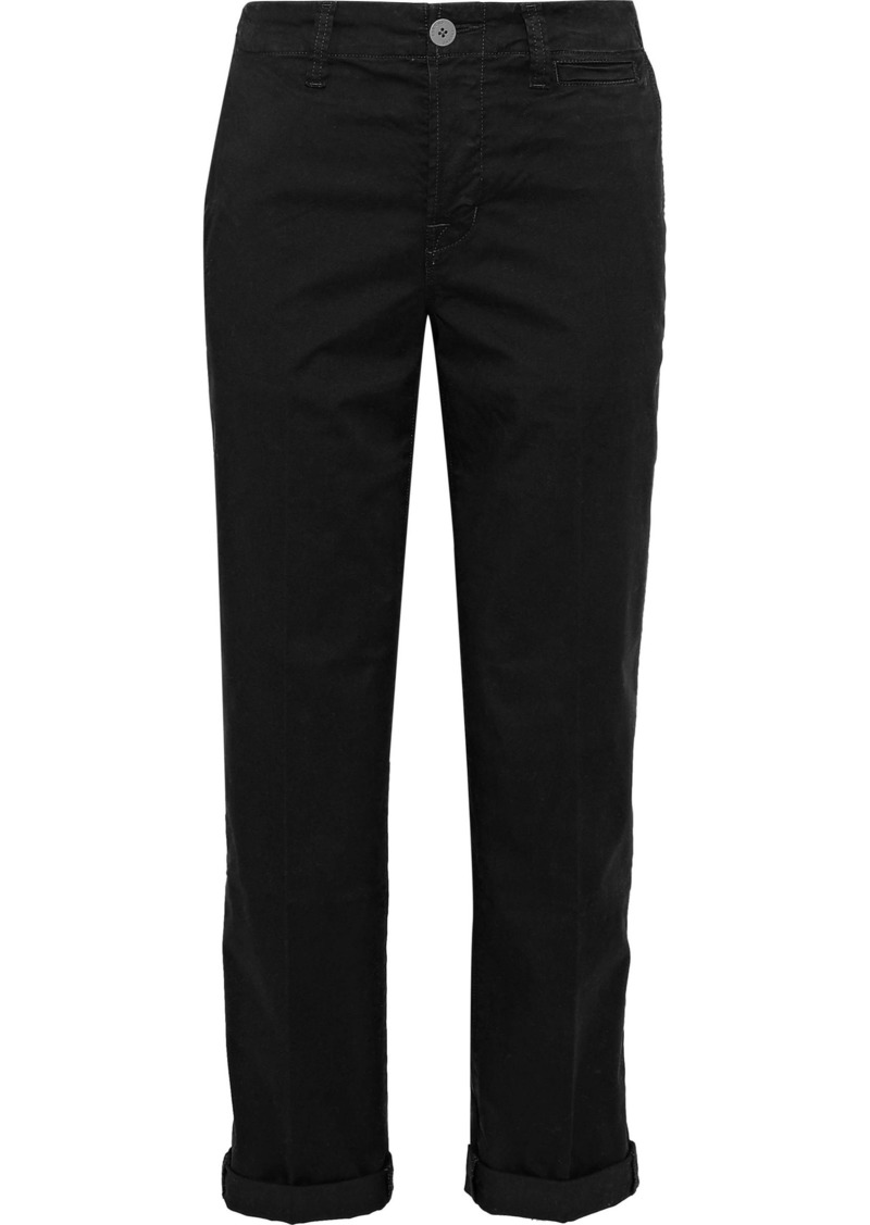J Brand Woman Inez Cropped Cotton-blend Twill Straight-leg Pants Black