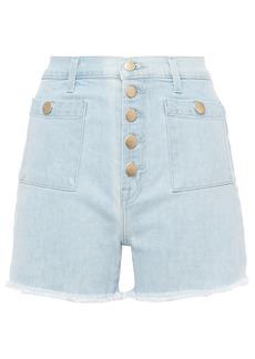 J Brand Woman Joan Button-detailed Frayed Denim Shorts Light Denim