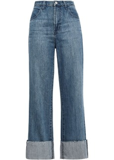 J Brand Woman Joan Cropped Frayed Faded High-rise Wide-leg Jeans Mid Denim