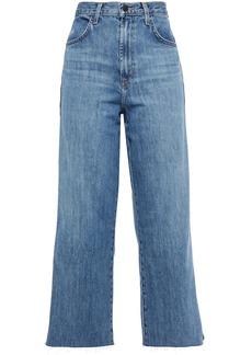 J Brand Woman Joan Cropped Metallic-trimmed High-rise Wide-leg Jeans Mid Denim