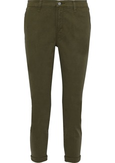 J Brand Woman Josie Cropped Brushed Cotton-blend Twill Slim-leg Pants Army Green