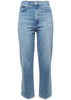 J Brand Woman Jules Faded High-rise Straight-leg Jeans Light Denim