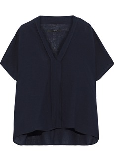 J Brand Woman Kiko Draped Gauze Top Navy