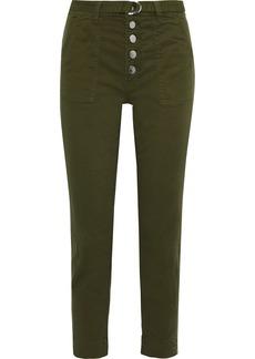 J Brand Woman Kyrah Cropped Belted Cotton-blend Twill Slim-leg Pants Army Green