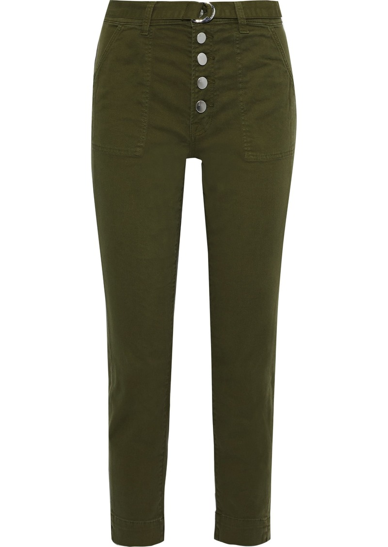 J Brand Woman Kyrah Cropped Belted Cotton-blend Twill Slim-leg Pants Army Green