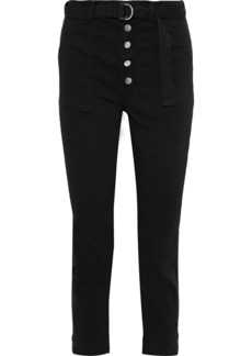J Brand Woman Kyrah Cropped Belted Cotton-blend Twill Slim-leg Pants Black
