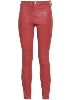 J Brand Woman L8001 Stretch-leather Skinny Pants Brick