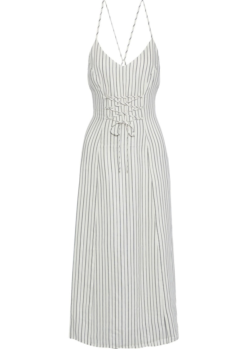 J Brand Woman Lace-up Striped Jacquard Midi Dress Off-white