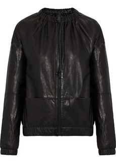 J Brand Woman Leather Bomber Jacket Black