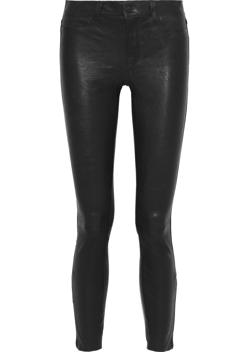 J Brand Woman L8001 Stretch-leather Skinny Pants Midnight Blue