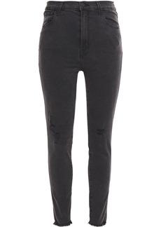 J Brand Woman Leenah Distressed High-rise Skinny Jeans Charcoal