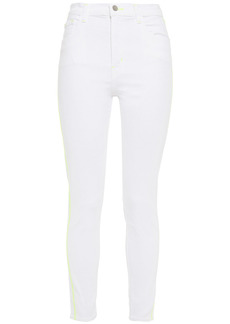 J Brand Woman Leenah Neon-trimmed High-rise Skinny Jeans White