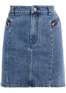 J Brand Woman Lillian Faded Denim Mini Skirt Mid Denim