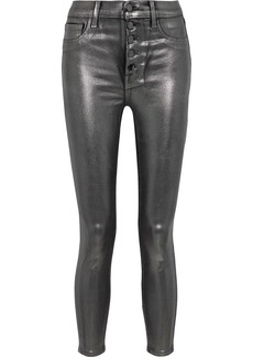 J Brand Woman Lillie Cropped Metallic Coated High-rise Skinny Jeans Gunmetal