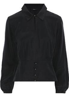 J Brand Woman Lindsay Washed-silk Peplum Blouse Black