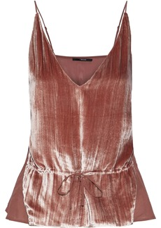 J Brand Woman Lucy Crushed-velvet And Silk Crepe De Chine Camisole Blush